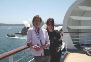 Debbie with her long-time friend Michele on the top deck of the ship. Michele is one of the Princess Cruise's very gifted pianists.